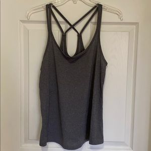 Charcoal grey active strappy tank top